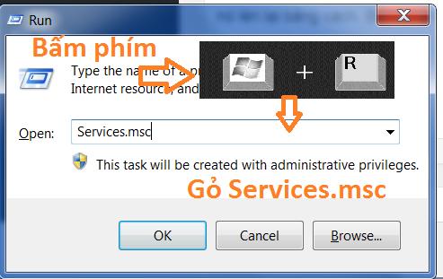 Bấm phím window + r gỏ Services.msc để vào dịch vụ print spooler