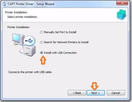 Chọn cộng kết nối usb khi cài máy in