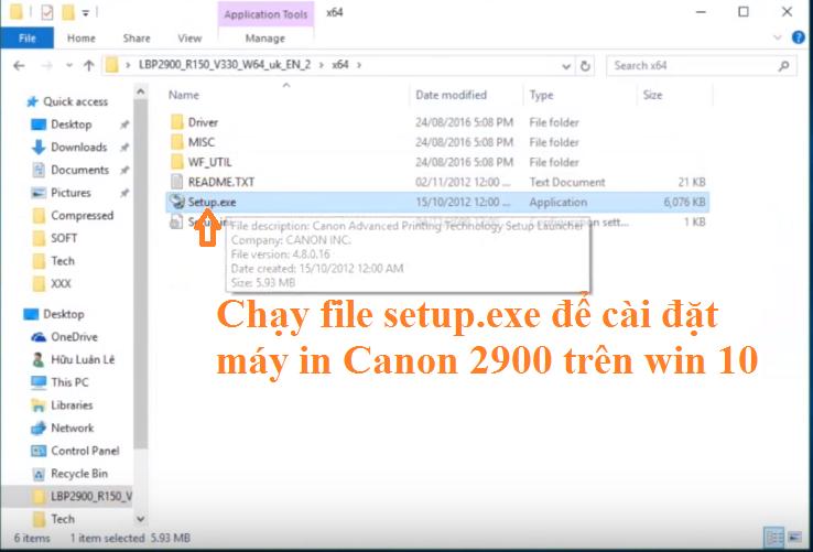 Chạy file setup để cài đặt máy in canon không cần đĩa