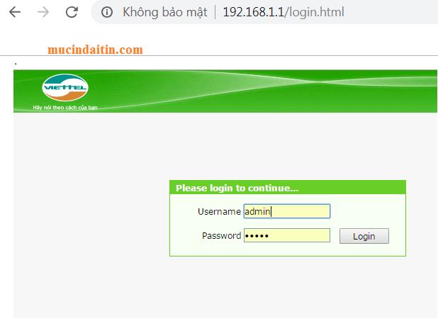 Cách đăng nhập vào model wifi vitetel