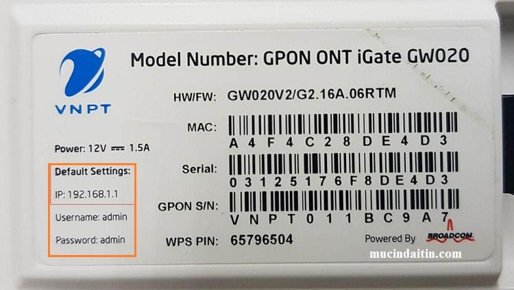 Thông tin địa chỉ ip user và pass đăng nhập model wifi vnpt