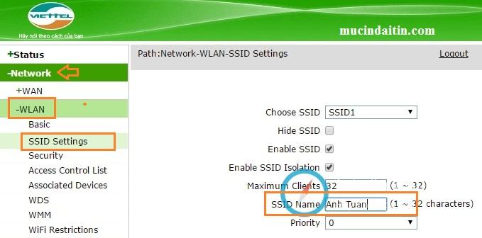 Cách đổi pass wifi sctv và viettel