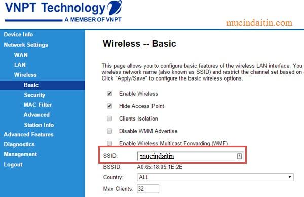 Cách đổi tên wifi vnpt.