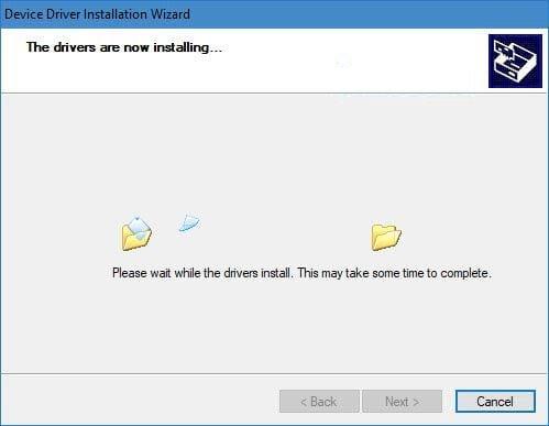Máy tính sẽ copy các file cài driver máy in