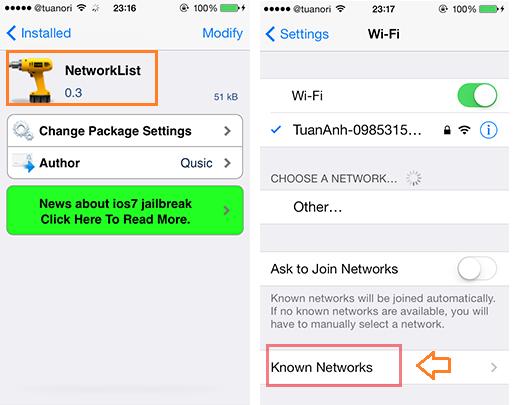 Phần mền xem pass wifi trên iphone ipad đã jailbreak