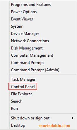 Mở control panel bằng quick menu