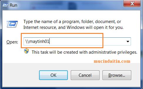 Kết nối máy tính với máy in bằng tên máy chủ