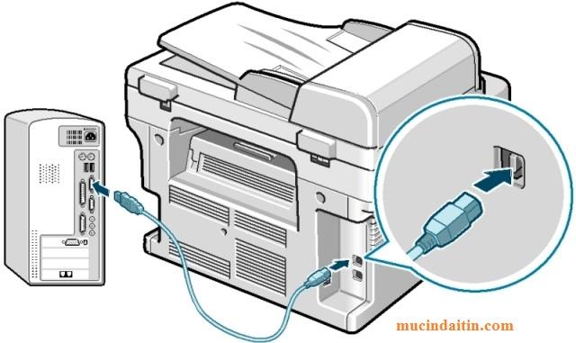 Kết nối máy tính với máy in qua usb