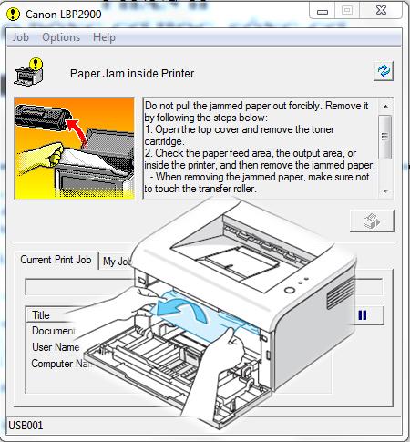 Thông báo lỗi máy in bị kẹt giấy paper jam inside printer