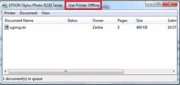 Máy in đang ở chế độ offline dẫn đến máy in không in được