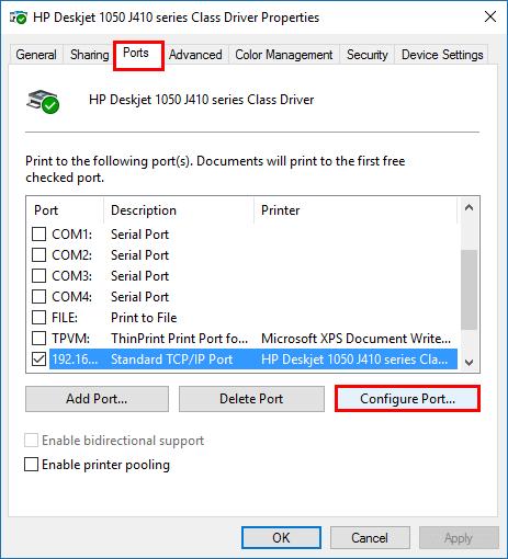 Địa chỉ ip của máy in trên máy tính