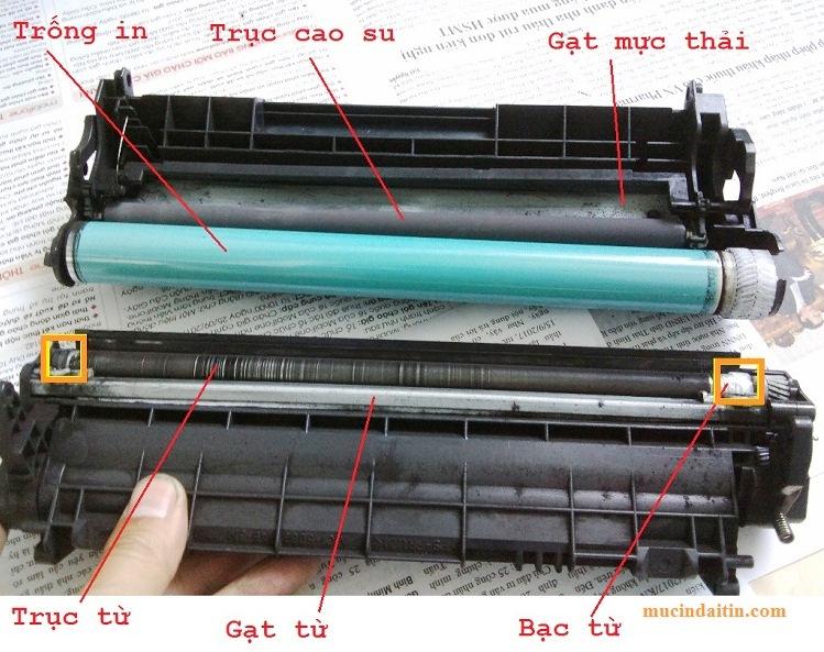 Thay drum trục từ gạt mực khi máy in bị nhòe mực, lem mực