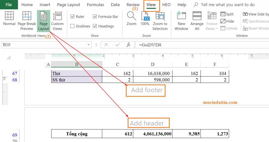 Đánh số trang trong excel với tính năng Page Layout