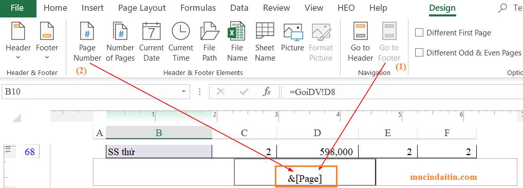 Đánh số trang trong excel header và footer