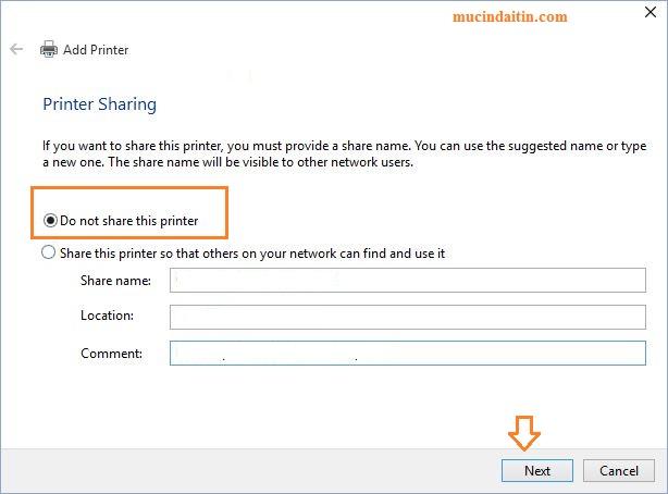 Chọn tính năng share hoặc không share máy in qua mạng Lan