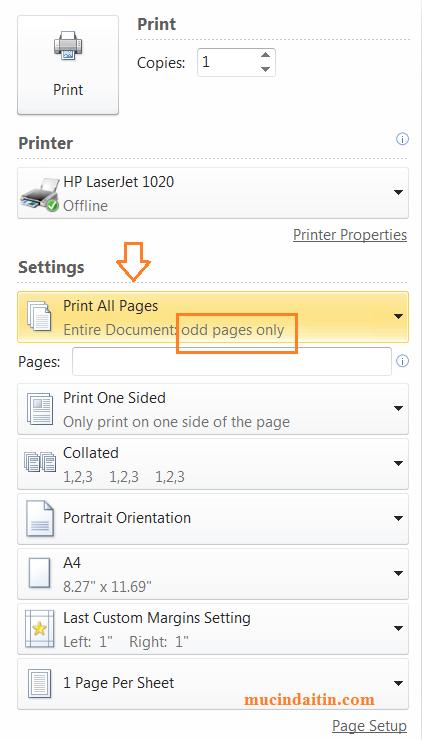 Cách in số trang lẻ trong máy in để in 2 mặt