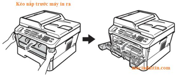 Mở nắp trước máy in và lấy hộp mực máy in brother ra