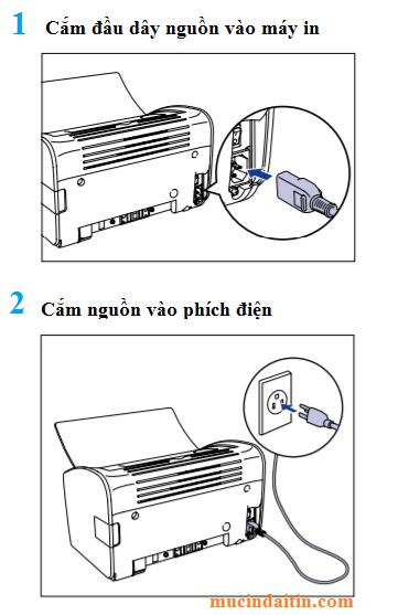 Cấp nguồn điện mở nguồn cho máy in