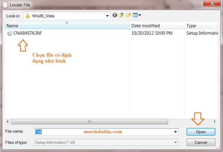 Chọn file có định dạng .inf để cài driver máy in win 7