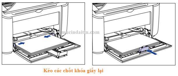 Kéo các chốt giữ giấy lại để khi in khỏi bị lệch
