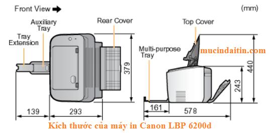 Kích thước máy in Canon LBP 6200d