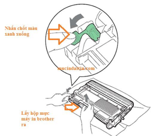 Cách lấy hộp mực ra khỏi cụm drum máy in brother