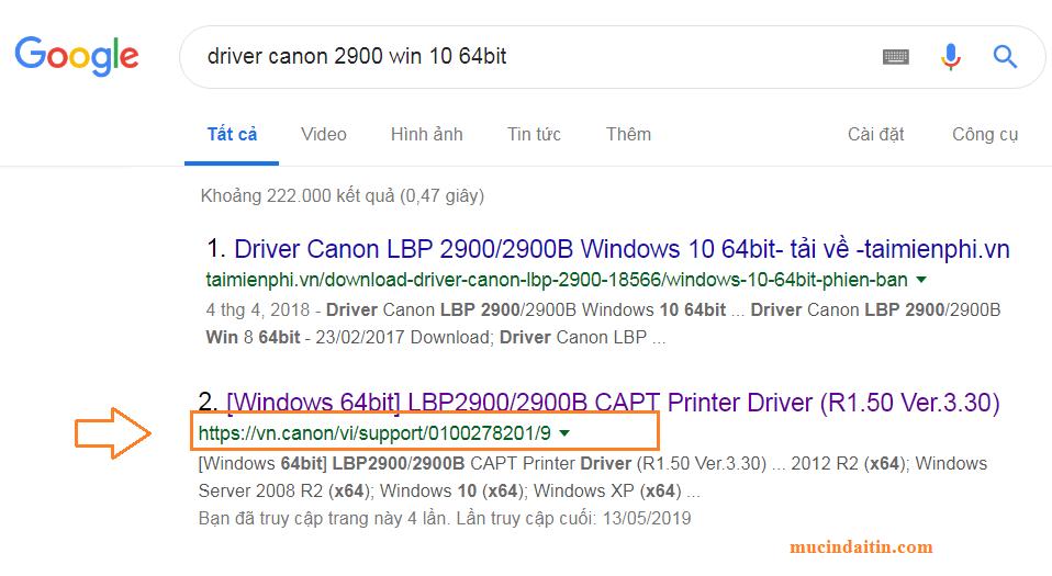 Link tải driver Canon 2900 từ trang chủ hãng máy in Canon