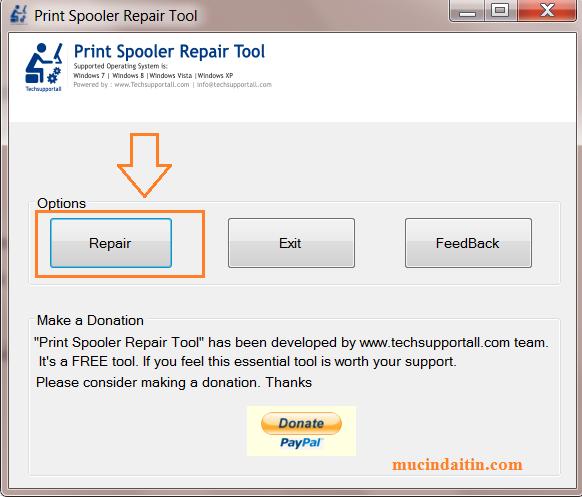 Sử dụng phần mền fix sửa lỗi máy in print spooler repair tool