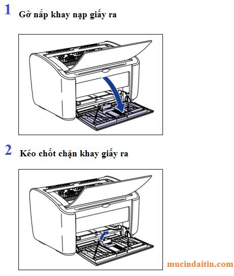 Thao khay nạp giấy máy in ra