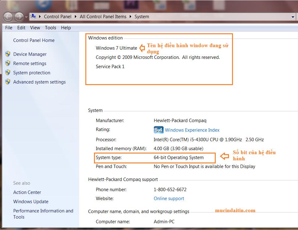 Xem hệ điều hành window và số bit máy tính đang sử dụng