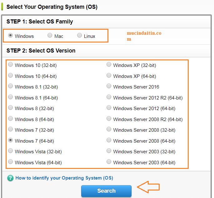 Chọn hệ điều hành window và số bit
