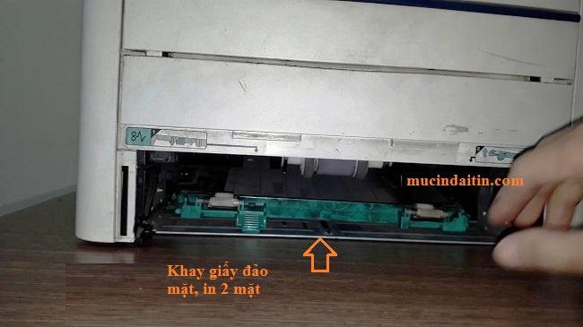 Vị trí khay giấy đảo mặt in 2 mặt canon 3300
