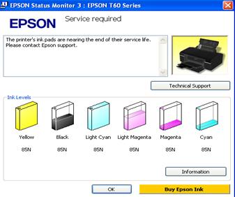 Lỗi máy in epson không in được báo services require