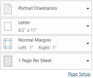 Các tùy chọn thiết lập trong hộp thoại khi in văn bản word excel pdf