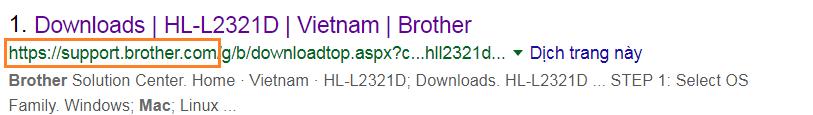 Link tải driver máy in brother từ trang chủ