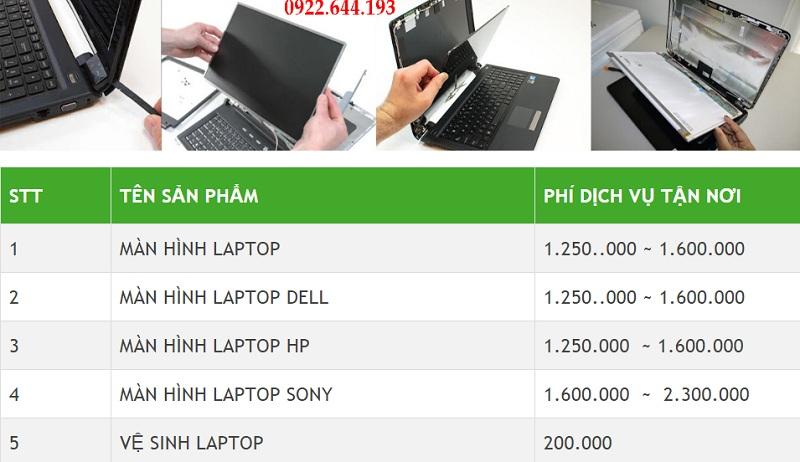 Bảng giá thay màn hình laptop tận nơi