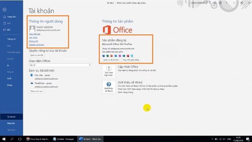 Kích hoạt bản quyên office 365