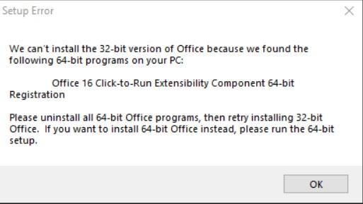 Lỗi cài đặt office 365
