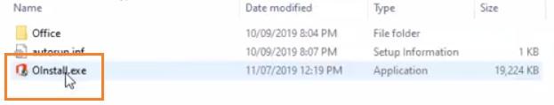 Chạy file cài đặt office 2019