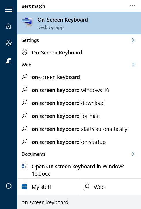 Cách mở bàn phím ảo Win 10 bằng Start Menu
