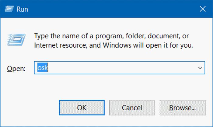 Cách mở bàn phím ảo Win 10 bằng cửa sổ lệnh Run