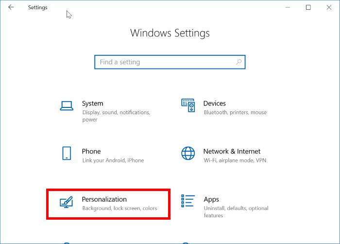 Lựa chọn mục Personalization