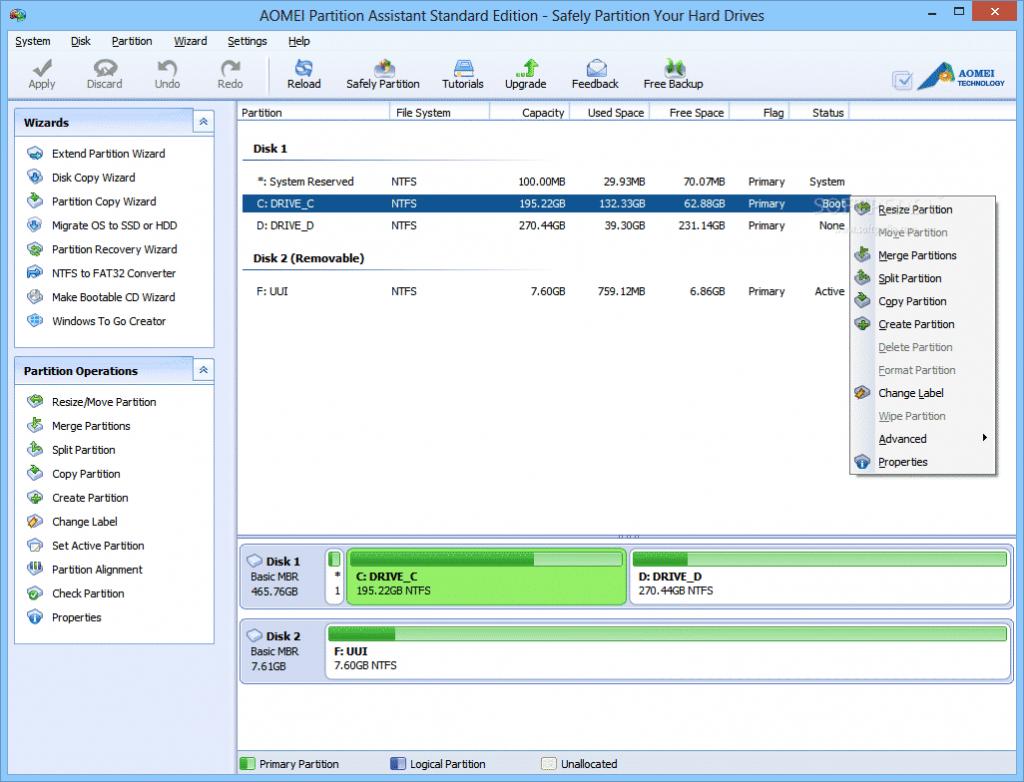Phần mềm AOMEI Partition Assistant SE