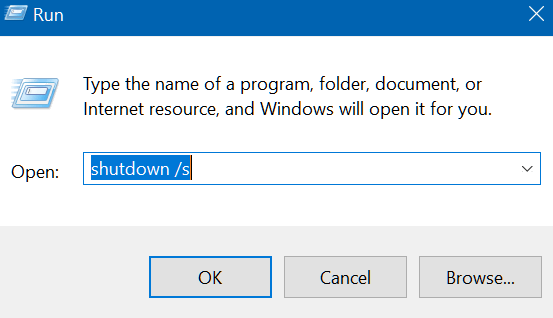 shutdown win 10 bằng run