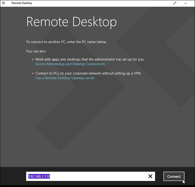 connect remote desktop win 10