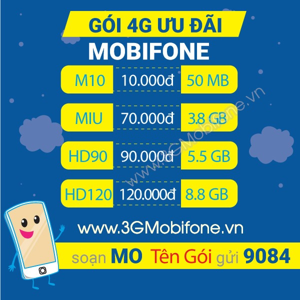 Cách đăng kí 3G 4G dành cho mobifone