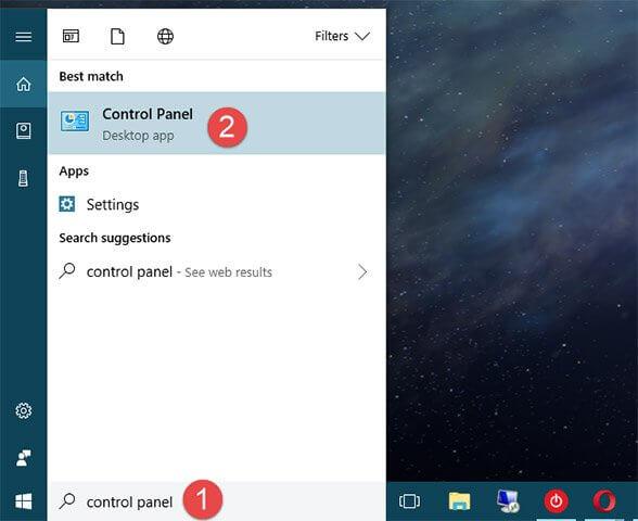Tìm Control Panel