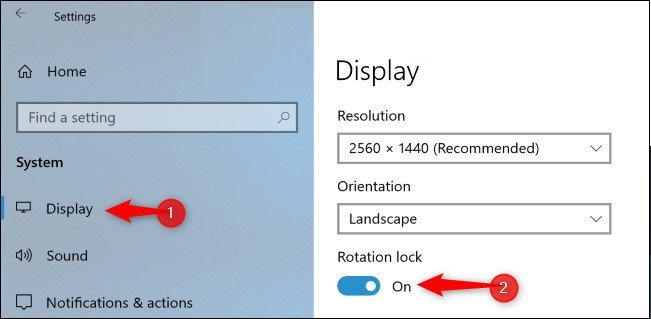 Bật chế độ Rotation Lock