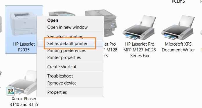 Set as default printer hp 2035