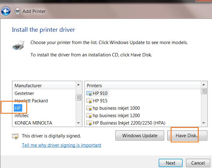 Add printer driver máy in hp 1160
